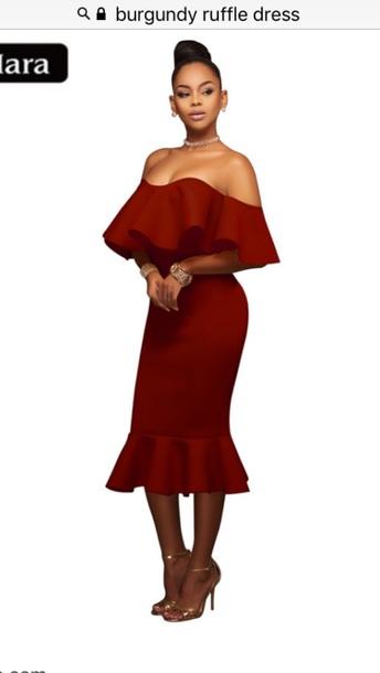9667de744625 dress burgundy dress ruffle off the shoulder off the shoulder top burgundy  bardot dress midi midi