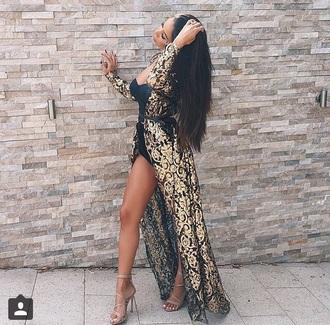 dress fabfashionkilla black and gold dress metallic maxi dress fashion