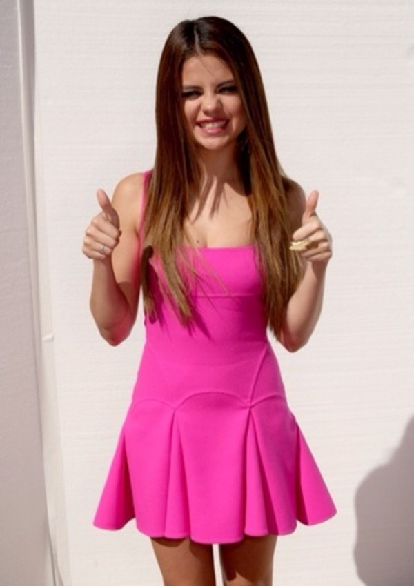 dress selena gomez pink skater dress