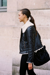 vanessa jackman,jacket,t-shirt,black shearling jacket