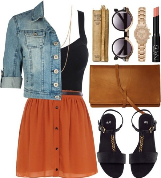 brown bag orange dress black top denim jacket jacket round sunglasses black heels shoes