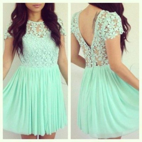 dress lace top dress lace mind flowers blue girly cute lace dress mint green dress