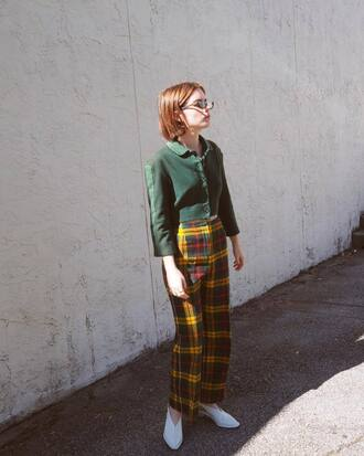 shoes white shoes green shirt tumblr slingbacks pants tartan tartan pants shirt double3xposure