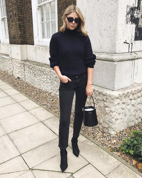 sweater tumblr black sweater knit knitted sweater knitwear denim jeans black jeans boots black boots all black everything sunglasses