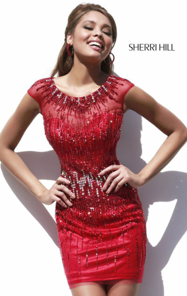 Beaded Sequined Cap Sleeves Red Sexy Cocktail Dress 9718 [Sherri ...