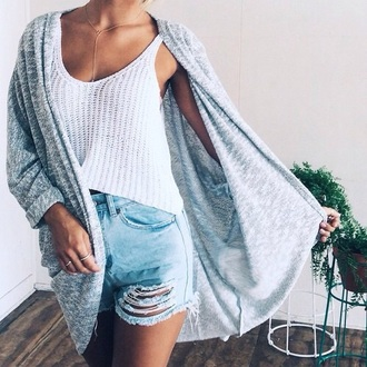 top swimwear knitwear ring high waisted shorts jewels cardigan shirt outfit summer white shorts ripped shorts distressed denim shorts denim grey body chain chain jewelry t-shirt denim shorts ripped jeans