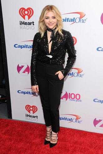 blouse sequins sequin top all black everything pants pumps chloe grace moretz shoes sequin shirt black pants black shirt