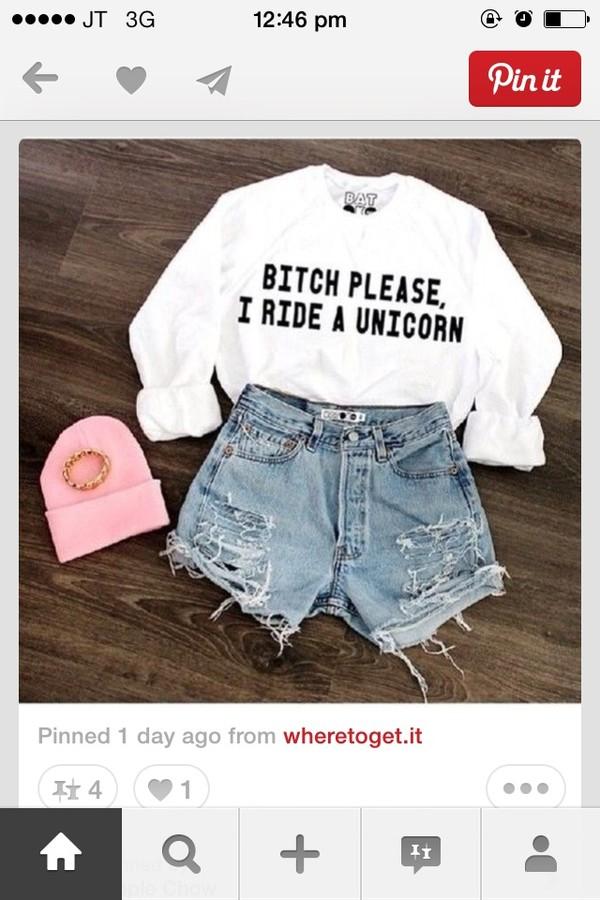 sweater bitch please i ride a unicorn