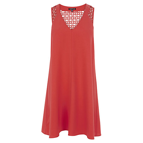 Buy Warehouse Lace Detail Swing Dress, Orange online at John Lewis