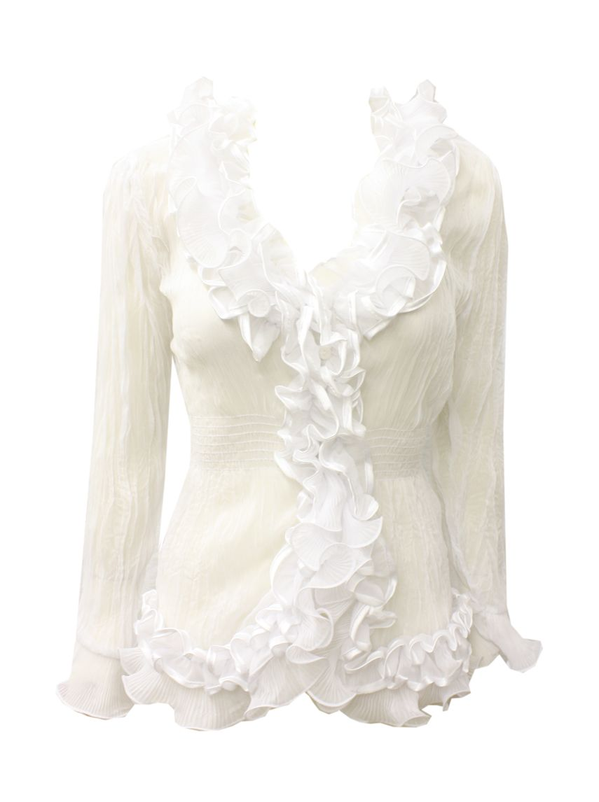 White Frilly Blouses 91