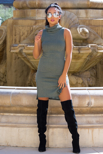 dress olive green olive dress cute dress cute sexy sexy dress fall outfits fall dress trendy style fashion boots thigh high boots thigh-high boots slit dress slit turtleneck turtleneck dress black black boots sunglasses aviator sunglasses tumblr outfit girl love ribbed tan