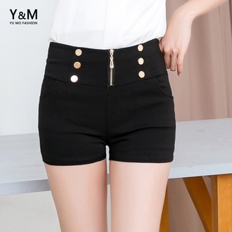 shorts black classy zip buttons yu mo fashion high waisted shorts