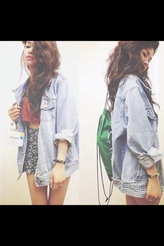 blouse denim denim jacket jeans vintage jacket shorts