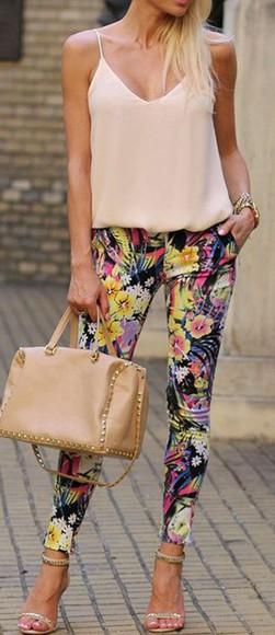 skinny pants skinny pants flowery jeans printed pants blouse