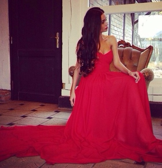dress gown maxi red dress prom pretty girl long hair strapless dress gorgeous dress beautiful red dress