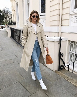coat nude coat sunglasses boots white boots ankle boots bag trench coat jeans denim blue jeans