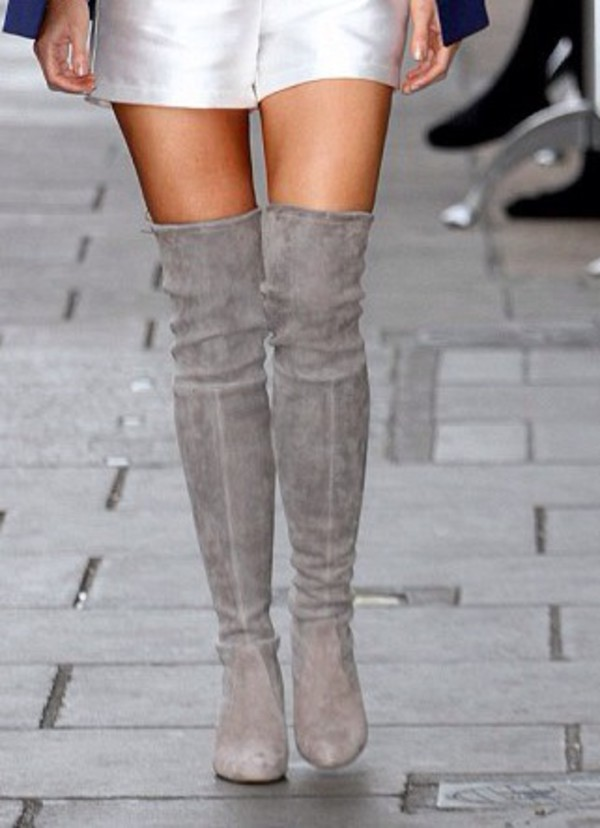 Shoes: over the knee, grey boots, suede boots, grey suede thigh ...