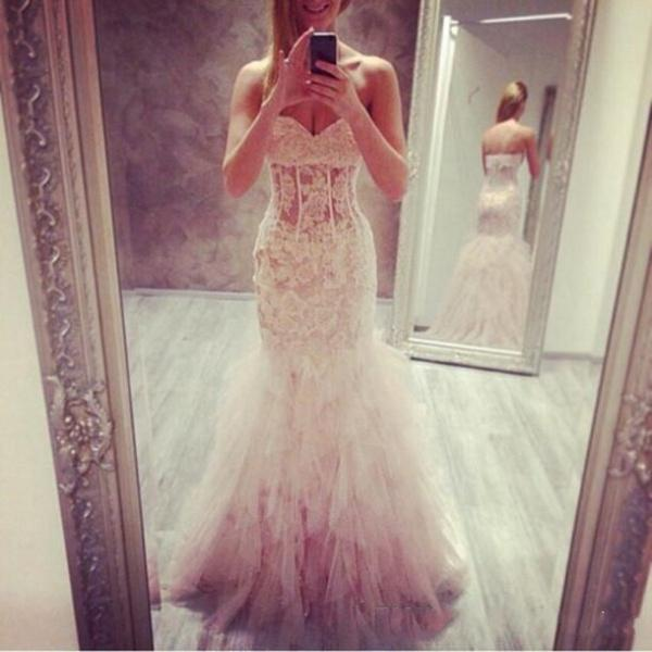 Discount 2014 Fascinating Backless Mermaid Wedding Dresses Sweetheart Applique Lace See-Through Beach Wedding Bridal Gowns Custom Made Prom Dress Online with $165.45/Piece | DHgate