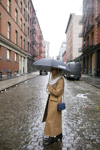 coat tumblr long coat camel camel coat bag blue bag boots black boots ankle boots umbrella scarf camel long coat