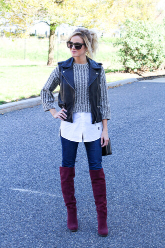 kim tuttle blogger sleeveless perfecto leather jacket grey sweater knitted sweater