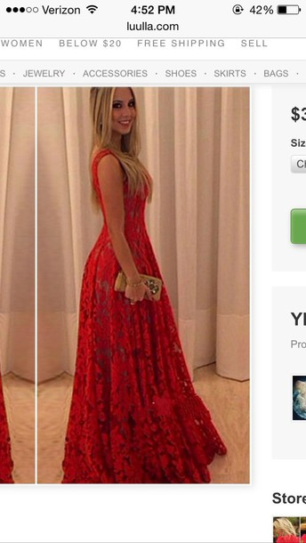 dress prom red lace flows flowers