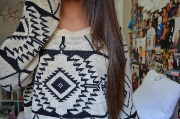 sweater warm tribal pattern aztec aztec sweater tribal sweater