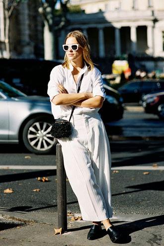 vanessa jackman blogger wide-leg pants white white shirt
