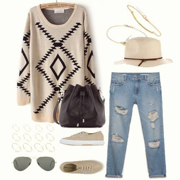 sunglasses bag pattern shoes jeans blouse hat