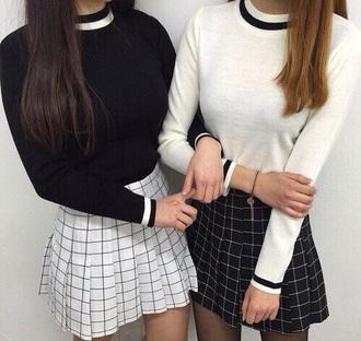 skirt black white grid black skirt white skirt pleated skirt