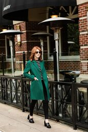 themiddlepage,blogger,coat,sweater,jeans,shoes,green coat,fall outfits,loafers,high heel loafers