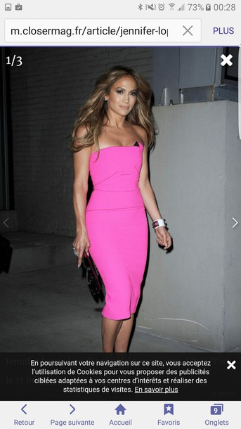 Dress: jennifer lopez, pink dress, cocktail dress, pink, hot pink ...