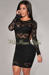 dress,sexy dress,lace,lace dress,black,black dress,black long sleeve dress,bodycon dress,bodycon,tight,sexy,party dress,birthday dress,bandage dress,clubwear,nightwear,sheer,long sleeves
