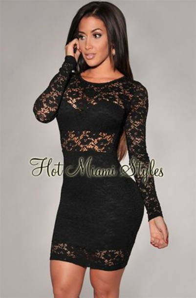 Black Lace Blouse Long Sleeve