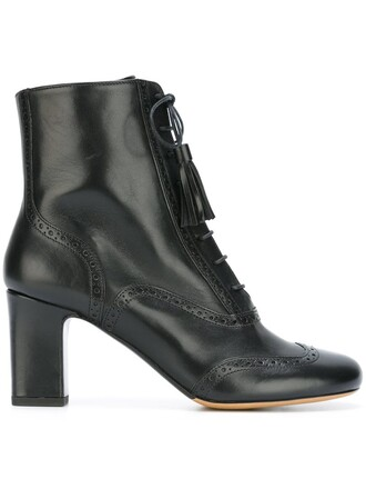 women boots ankle boots lace leather black shoes