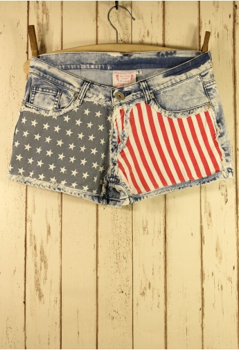 American Flag Washed Denim Shorts - Retro, Indie and Unique Fashion