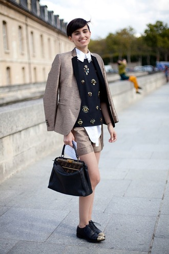 shoes brown and black blazer studded blouse beige skirt black bag blogger black and gold oxford shoes