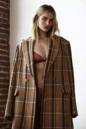 underwear,model,rosie huntington-whiteley,plaid,coat,bra