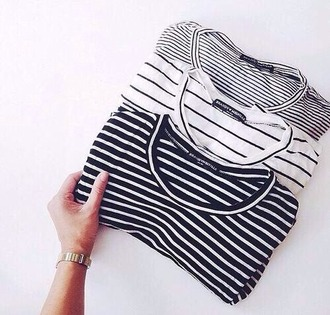 t-shirt striped shirt stripes black and white