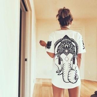 shirt white black and white elephant