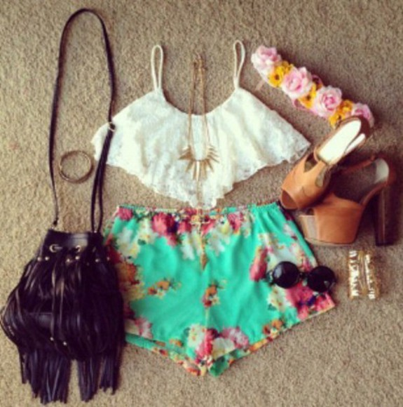 short turquoise floral shorts