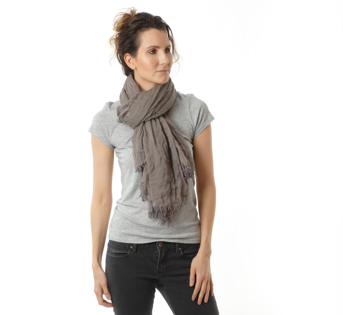 Taupe silk cashmere scarf by botto giuseppe