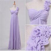 dress,lilac dress,long dress,chiffon dress,one shoulder,purple dress,prom dress,bridesmaid,luulla.com