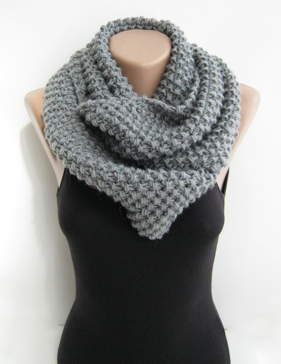 Gray infinity scarf knit loop scarf titanium grey by sascarves