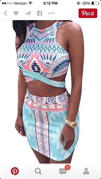 dress top skirt two-piece tribal pattern