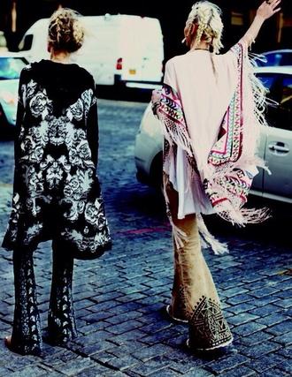 cardigan boho coachella hippie kimono patterned kimono tassel colored kimono poncho loose
