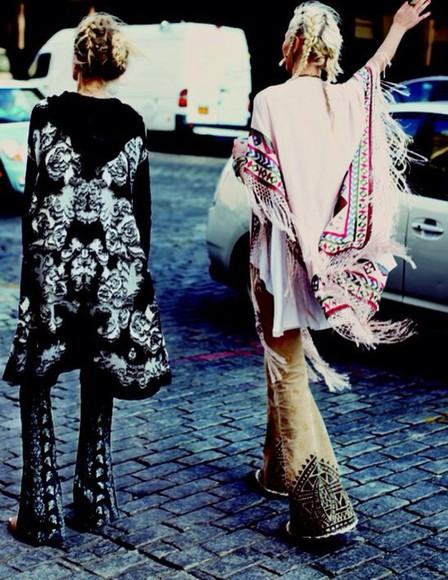 cardigan kimono coachella boho hippie patterned kimono tassels colored kimono poncho loose