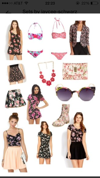 style scrapbook shoes sunglasses jewels bag dress floral blazer shirts bathing suit bikini romper flowers on trend popular shorts pant short combat boots i know where all of these are just ask