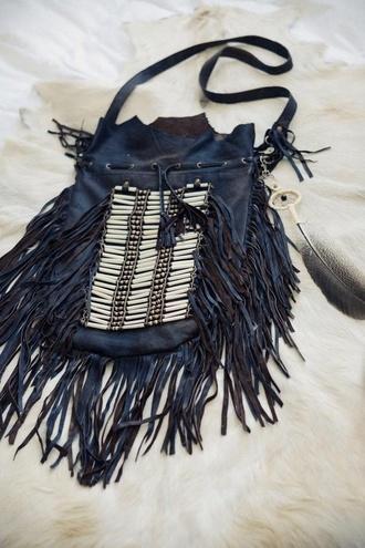 bag fringes boho boho bag black leather bag shoulder bag fringed bag