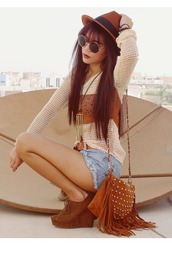bag,fadora hat,cut off shorts,wedge heels,indie,retro,knitted top,straight hair,boho,summer outfits,sweater,brown bag,studs,shorts,sunglasses,fringed bag,shoes,high heels,purse,hipster,hippie,cute,tumblr,hat,brown,belt,brown belt,cute shorts,short shorts,cute sweater