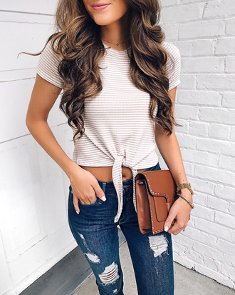 t-shirt tie-front top striped t-shirt denim distressed denim skinny jeans clutch blogger blogger style crop tops